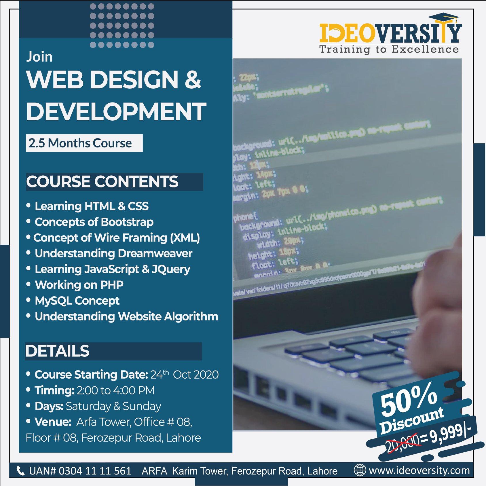 Web Designer & Developer   Ideoversity   24 Oct, 2020