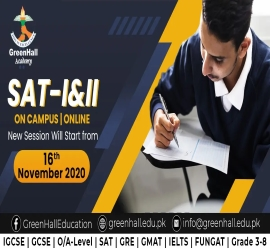 SAT I&II | Green Hall Academy | 16 Nov, 2020