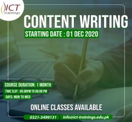Content Writing Course | ICT Trainings | 1 Dec, 2020