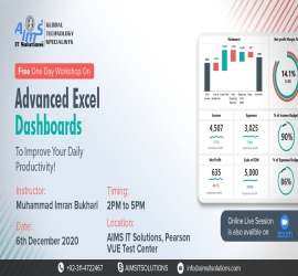 Workshop on Advanced Excel Dashboards | AIMS I.T Solutions & Trainings | 6 Dec, 2020