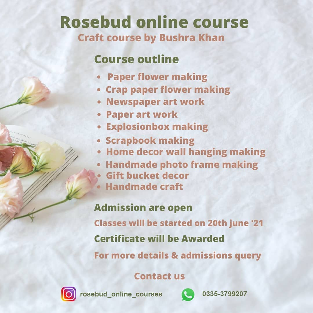 Craft Course | Rosebud Online Courses | 20-06-21